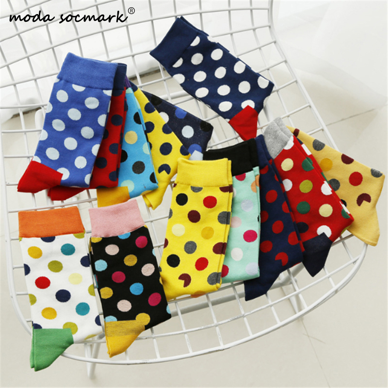 Moda Socmark Brand Happy Socks Men/Women 20 Colors Round Wave Point Socks Fashion Cotton Couple Long Sock 2019 Skateboard Socks