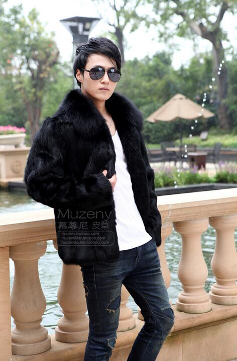 Winter autumn thicken thermal fox fur leather jackets men casual mens mink hair cotton-padded coats outerwear fashion black