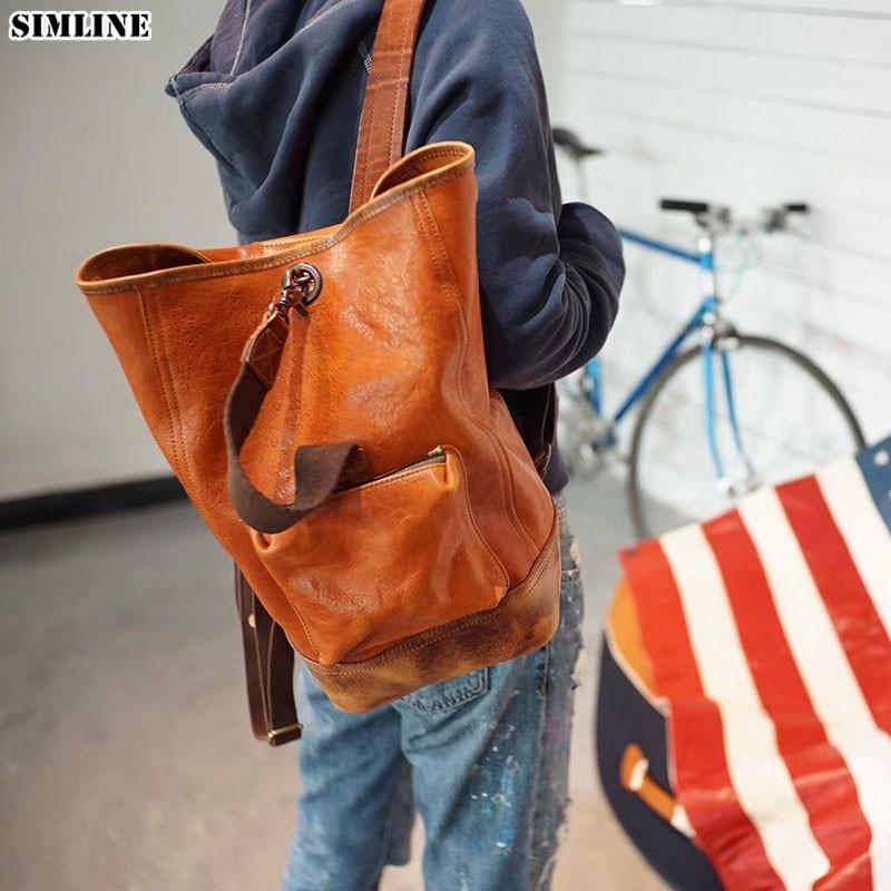 Genuine Leather Backpack Men Women Luxury Brand Vintage Handmade Italian Vegetable Tanned Cowhide Mochila Backpacks Shoulder Bag