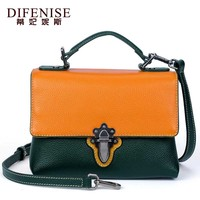 Difenise Brand Women Genuine Leather Messenger Bags With 2 Color Design Handbag Ladies Solid Small Shoulder Bag Female Purse
