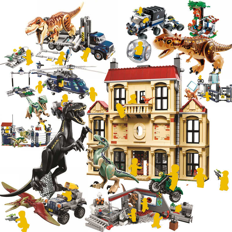 Toys T-Rex Compatible Jurassic Dinosaurs World 2 Park Sets Blocks Building Animals Mini Brick Figures For kids Christmas gift