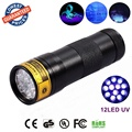 1PC frees hipping UV 12LED Blacklight Flashlight can check money and ticket (black)