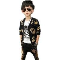 Children Clothing Sets 2016 New Spring Skull Designs Printed Children Clothing Sets Top Jackets Harem Pants
