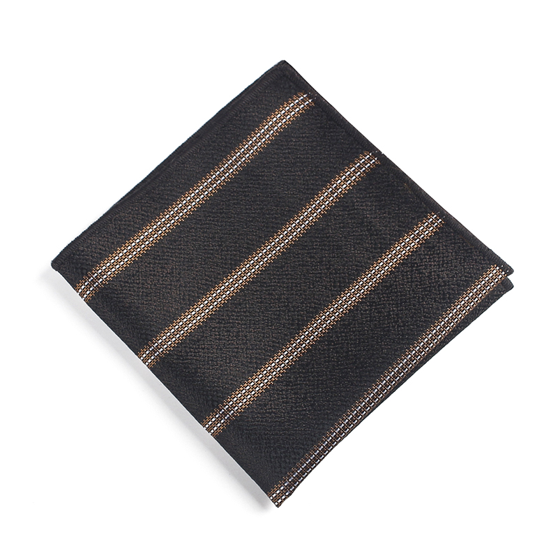 Bridegroom Evening Party Business Men Tuxedo Suit Polyester Silk Brown Striped Embroidery Pocket Square Towel Handkerchief