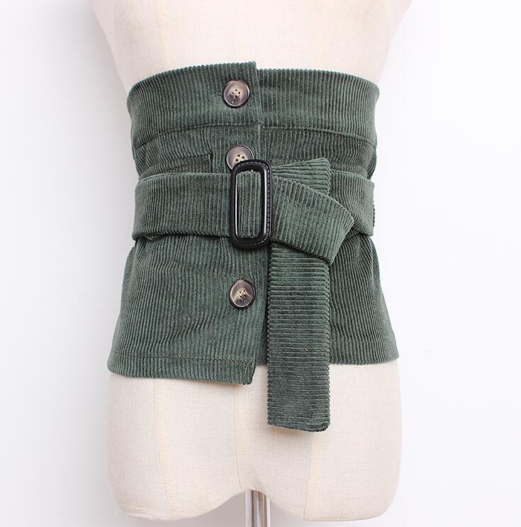 Women's Runway Fashion Vintage Corduroy Cummerbunds Female Dress Corsets Waistband Belts Decoration Wide Belt R1680