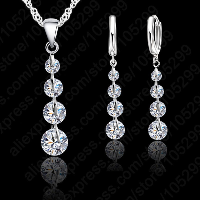 Jemmin Romantic 925 Sterling Silver Link Chain Crystal Pendant Necklace Jewelry Set For Women Earrings Wedding Jewelry Sets
