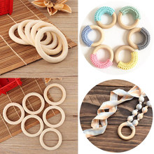 New Baby Toy Wooden Teether Rings Bracelet DIY Crafts Natural New Round Connectors Circles Rings Teether Rattles Kids Baby Toys(China)