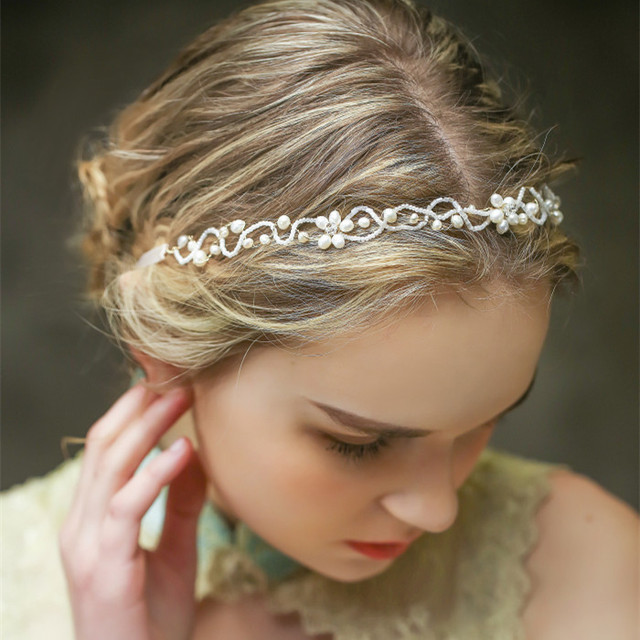 Jeweled Headbands Hair Accessories Wedding Bridal Bride Ornaments Fresh Water Pearl Crystal Jewellery
