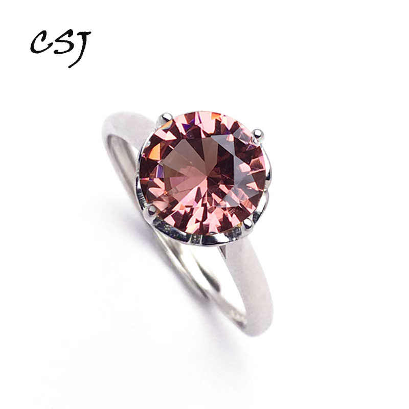 CSJ Classic Zultanite Ring Sterling 925 Silver Created Sultanite Color Change  Fine Jewelry Women Party Wedding