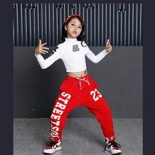 1c92c03b8 Niños salón moderno Jazz hip Hop danza competencia trajes camisa Tops  pantalones chicas fiesta escenario ropa Ropa de baile