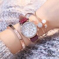 GUOU Diamond Crystal Japanese Core Luxury Quartz Watches Women Classical Retro Ladies Casual Watch Female Elegant Clock 8057