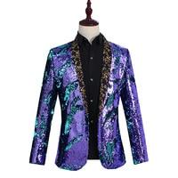 YUSHU Mens Sequins Suit Blazer Jacket 2019 Brand Male Slim Fit DJ Club Stage One Button Blazer Men Formal Wedding Costume