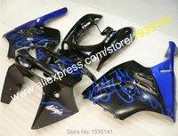 Hot Sales,Blue flames black body Kawasaki NINJA Fairings kit ZX9R 94 95 96 97 ZX-9R Cowling plastic ZX 9R 1994 1995 1996 1997