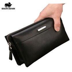 Bisonte DENIM hombres lujo embrague bolso práctico Moneder hombre bolso de cuero de los hombres bolsos de embrague cremallera largo cartera N8009
