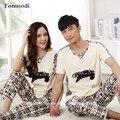 Pijamas de Los pares Amantes de Las Mujeres ropa de Dormir de Algodón de Manga Corta Pantalones Pijamas Pullover Hombres Pijama Mujeres