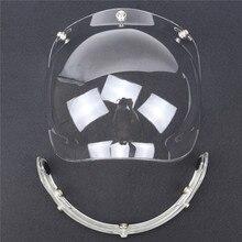 Nuovo viseira bolha Flip up 3 snap Bolla Shield Visor 3/4 Aperto Viso occhiali casco Moto D'EPOCA Casco obiettivo di vetro