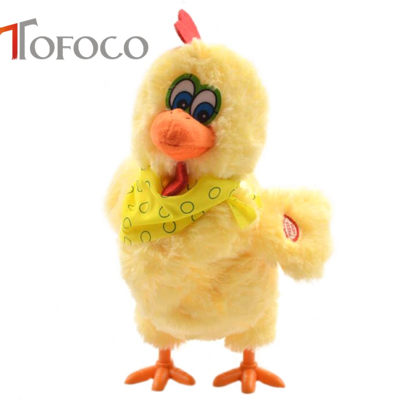 TOFOCO 30cm Funny Electric Laying Eggs Hens Chiken Toy Novelty Crazy Singing Dancing Electronic Plush Pets X-mas Gift! image