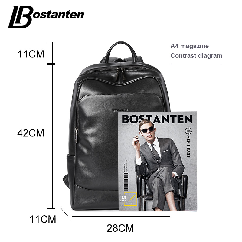 BOSTANTEN Cuoio Zaino Maschio Grande Viaggio Zaini Schoolbag Business 13 14 15 pollice Laptop Backpack Anti Furto Borsa Del Computer - 6