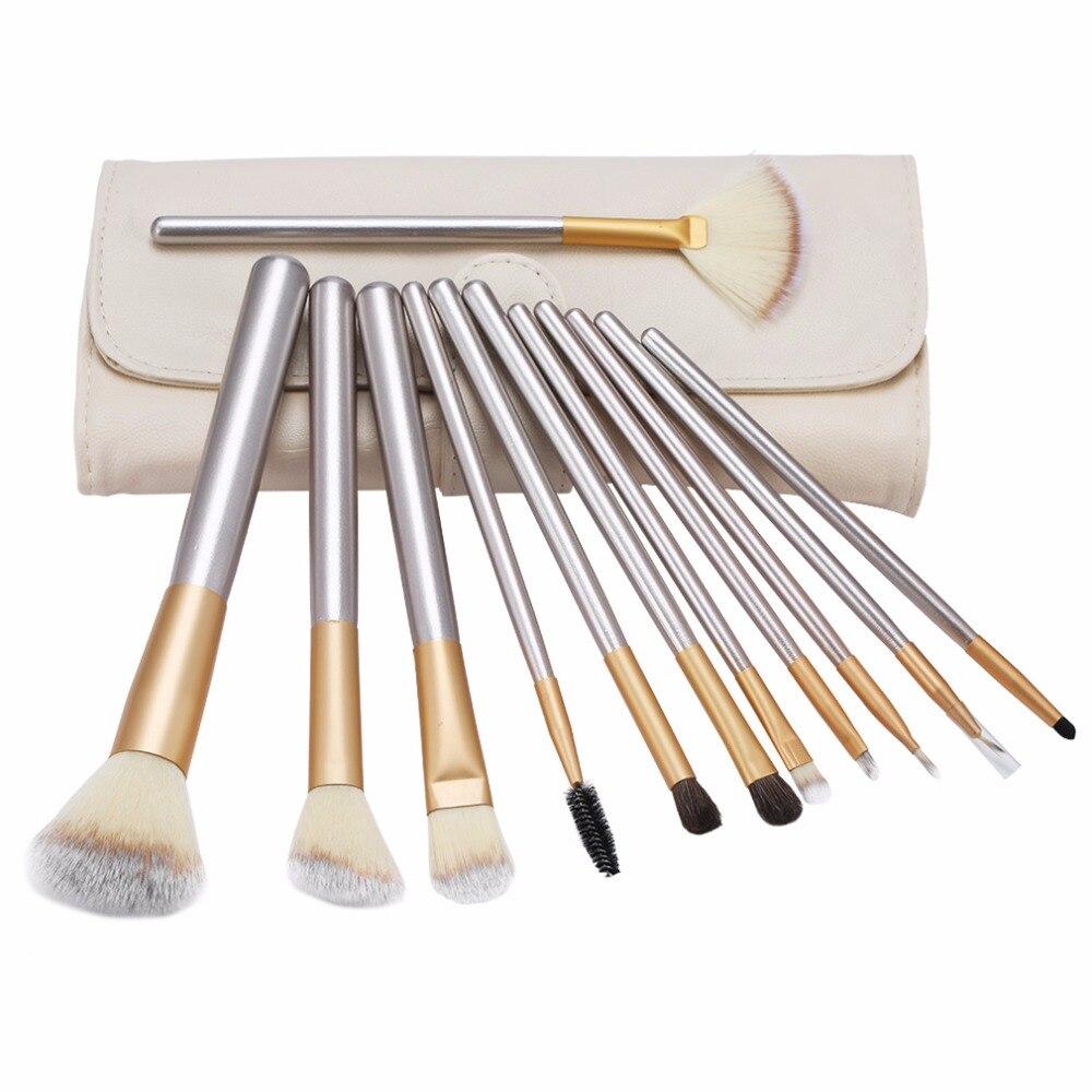 12 unids o 1 unid classic beige mango de madera pinceles de maquillaje kit cosmé