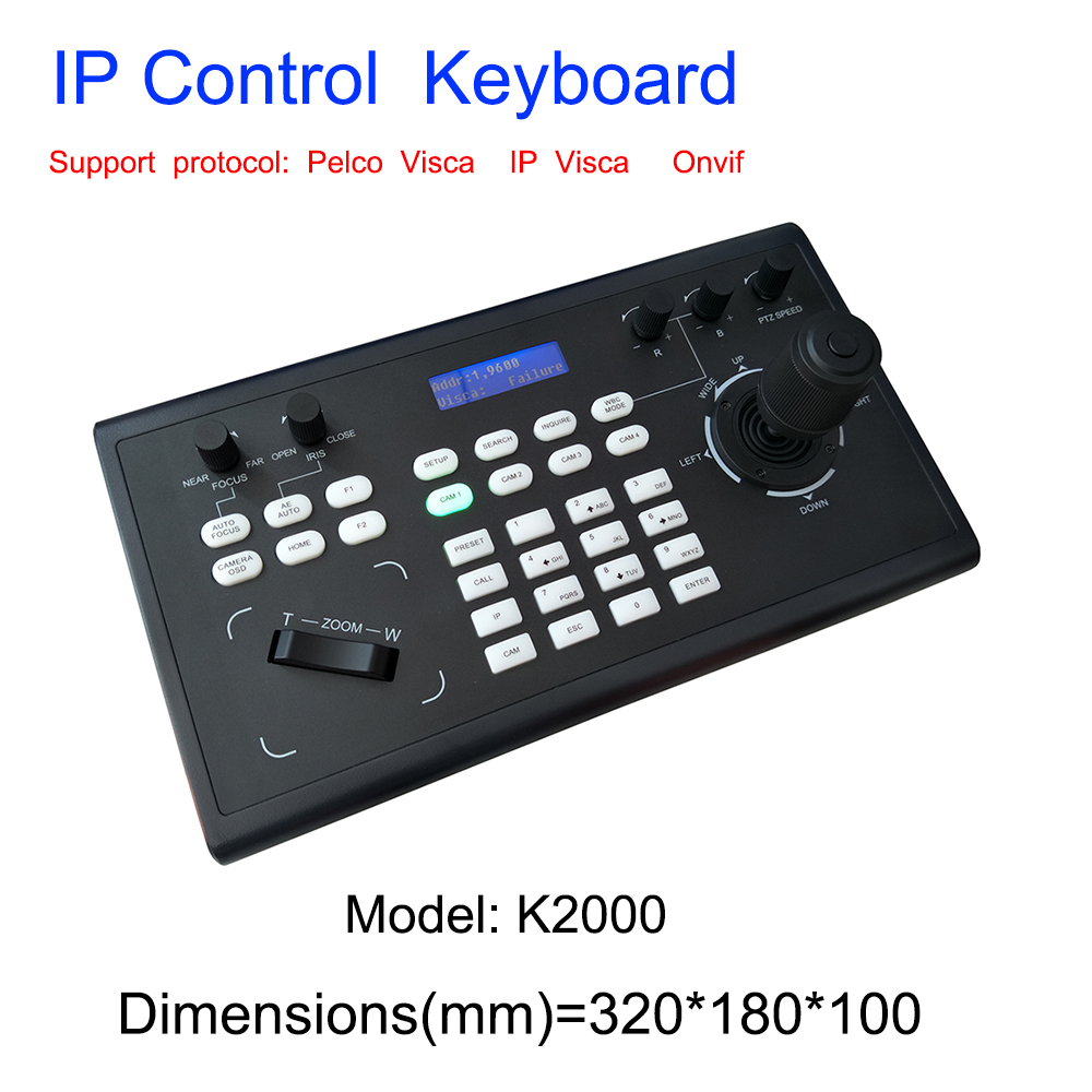 Video Conferencing Network Keyboard Controller joystick RS485/232 RJ45 Ports PelcoD VISCA for HDMI SDI IP Conference CameraCCTV Control System   -