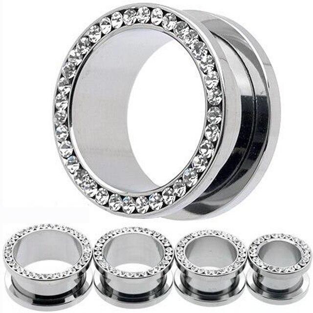2Piece Free Shipping Ear Plug stainless steel Crystal Rhinestone Ear Plugs flesh tunnel  Ear Gauges Expander Stretcher