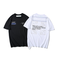 3D sketch Warning line arrow 19ss Off White OW Men/Women Couple Lovers models Cotton Fashion Short sleeve Round neck T shirt