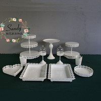 11 Pieces White Metal Iron Lace Cake Stand Cake Tray Cupcake Fruit Plate Pastry Tray Wedding