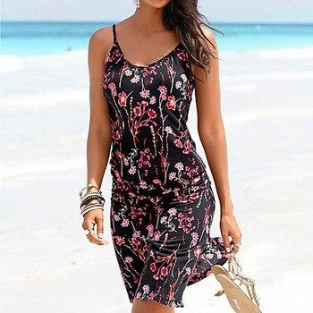 Women Halter Neck Boho Print Sleeveless Casual Mini Beachwear Dress SundressLadies sling print dressladies 2019 latest fashion spot print knot back halter dress