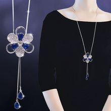 Fashion Crystal Flower Long Necklaces & Pendants For Women Blue Rhinestone Tassel Sweater Necklace Dress Accessories chic rhinestone petal flower necklace for women