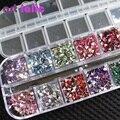 3000 Шт. Треугольник Nail Art Стразы Деко Блестит Блестящие Камни с Случае Коробка Ногтей