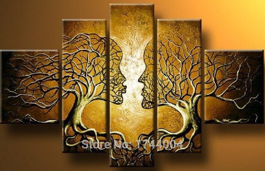 Коричневый дерево любить картина маслом на холсте 5 шт. цветок набор дома абстрактная стена Книги по искусству украшения Современные Аватар...