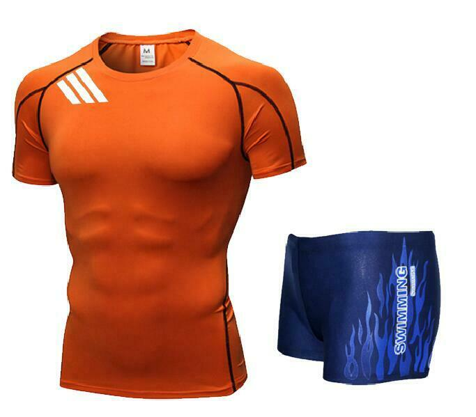 Men Swim Top T Shirt Trunks Boxers Shorts Swimwear Short Pants SwimSuit Swimming Wear Short Sleeves For Beach Spa Pool Ds34