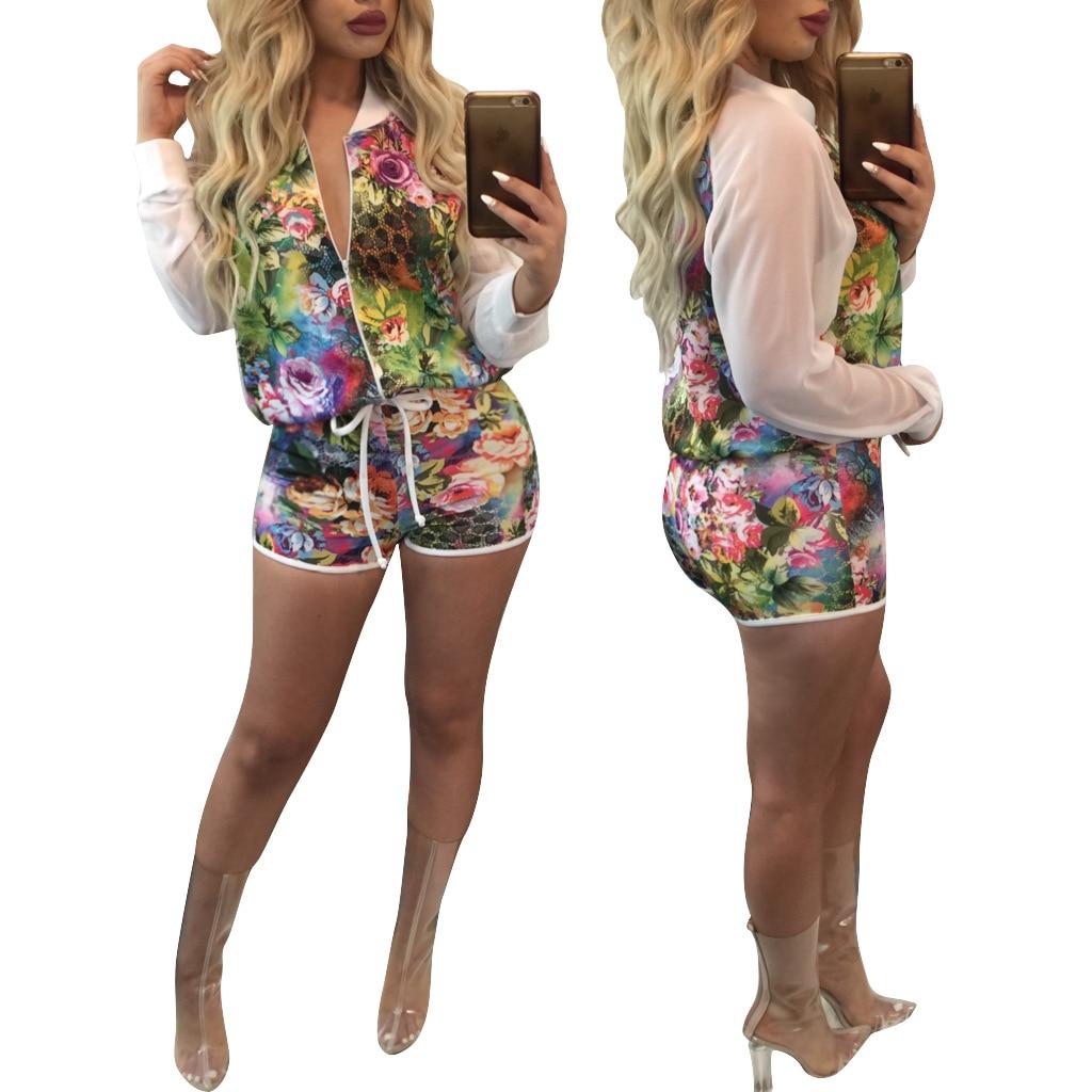 Casual 2 Piece Set Print Summer Chiffon Tops Jacket + Shorts for Women 2018 Two-piece Sportswear White Top Sweat Suits Women