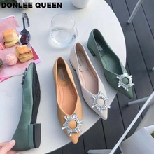 DONLEE QUEEN Brand Flats Shoes Women Slip On Casual Loafers Pointed Toe Ballet Boat Shallow Crystal Buckle Ballerina Mujer