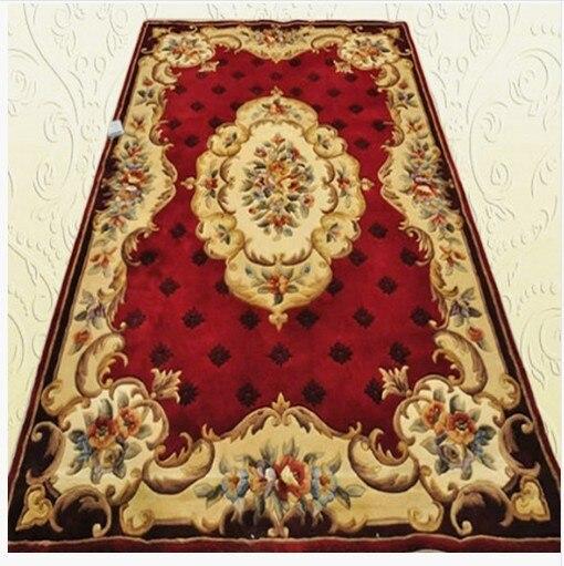 Tapis européen laine mode tapis salon table basse tapis américain rustique écologique tapis lit tapis