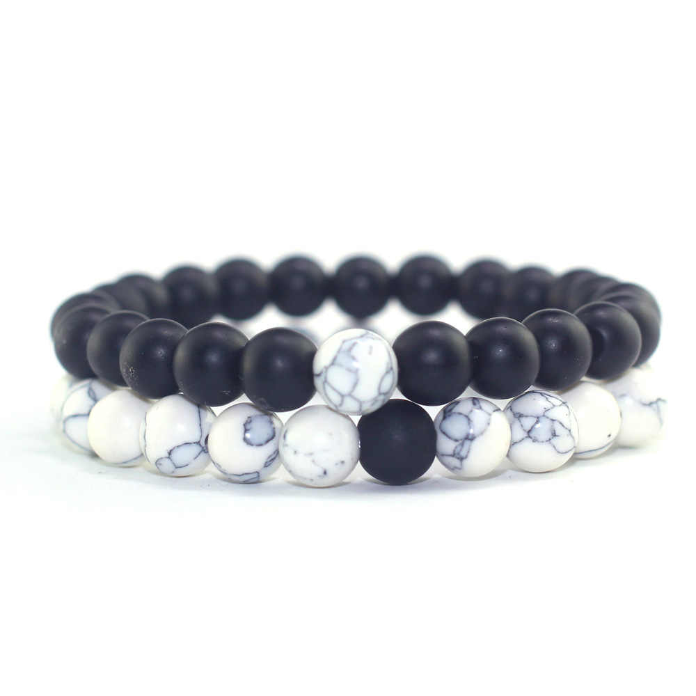 Trendy Black White Stone Beads Distance Bracelet Tourmaline Lava Yoga Strand Wristband for Women Men Couple Bangles Jewelry