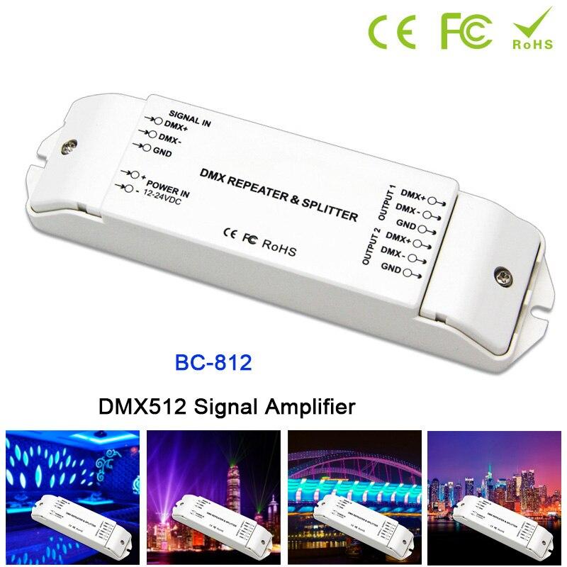 BC-812 DMX Power amplifier 1 to 2 channel output DMX power splitter DMX led controller,DC12V -24V DMX512 Signal power repeater 3 channel dmx wifi master controller dmx512 signal output working with 3 channels dmx decoders