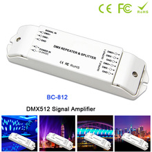 BC-812 DMX Power amplifier 1 to 2 channel output power splitter led controller,DC12V -24V DMX512 Signal repeater