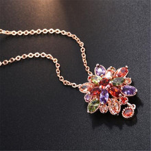 1PC Colorful zircon rose gold flower pendant necklace Beautiful fashion shiny jewelry For Women Jewelry Dropshiping