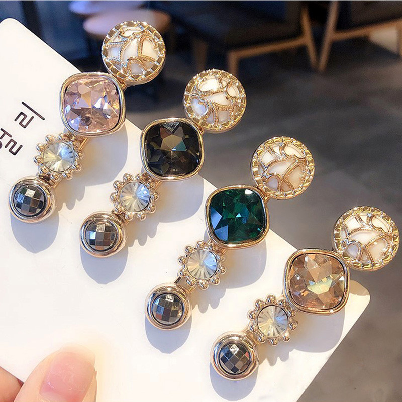 2019 Women Hair Clip Jewelry Korean Fashion Crystal Round Geometric Gold Barrette Elegant Head Accesorios Mujer Tiara Party Gift(China)