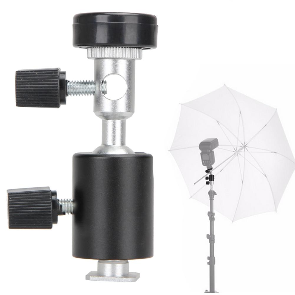 Universal 360 Degree Camera Flash Hot Shoe Adapter Umbrella Holder Swivel Light Stand Bracket Type C Photography Acc