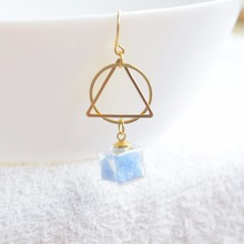 цена на a Pair Blue Luminous Glow In The Dark Cube Round Triangle Geometry Long Copper Drop Earrings For Women Vintage Fashion Jewelry