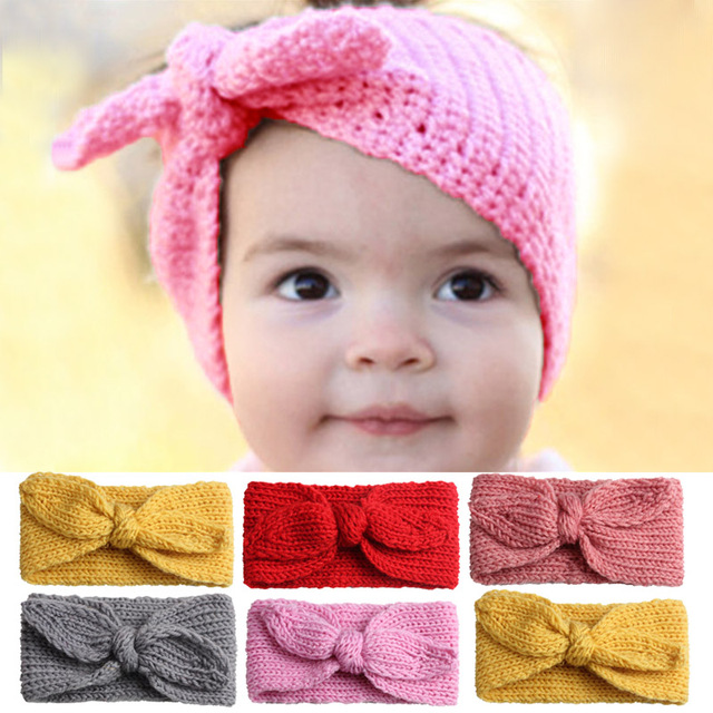 Cute Baby Headband Baby Hair Accessorie Knitted Solid Color Baby Girl  Headbands Head Warm Crochet Baby Hair Band Turban Haarband 742a0b38dff