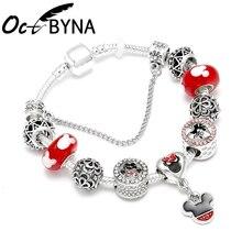 Octbyna Silver Plate Mickey Minnie Bracelets For Women