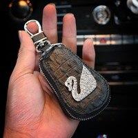 Swan Series Diamond Key Case Drive License Holder Women S Car Key Wallet Remote Control Bag
