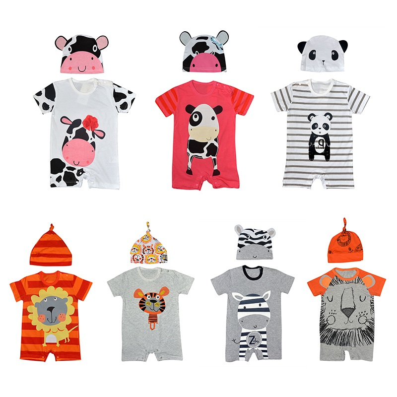 Baby Clothing Set Newborn Baby Rompers Summer Style Baby Girls Boys Clothes 2pcs Animal Cartoon Infant Jumpsuits Ropa Bebes 2018 baby boys rompers infant jumpsuits mickey baby clothes summer short sleeve cotton kids overalls newborn baby girls clothing
