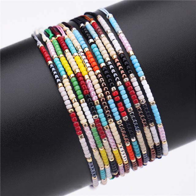New Handmade Knotted Small Beads Bracelets Colorful Wax Rope Bracelet Bohemia Bangle For Women Gift Jewelry