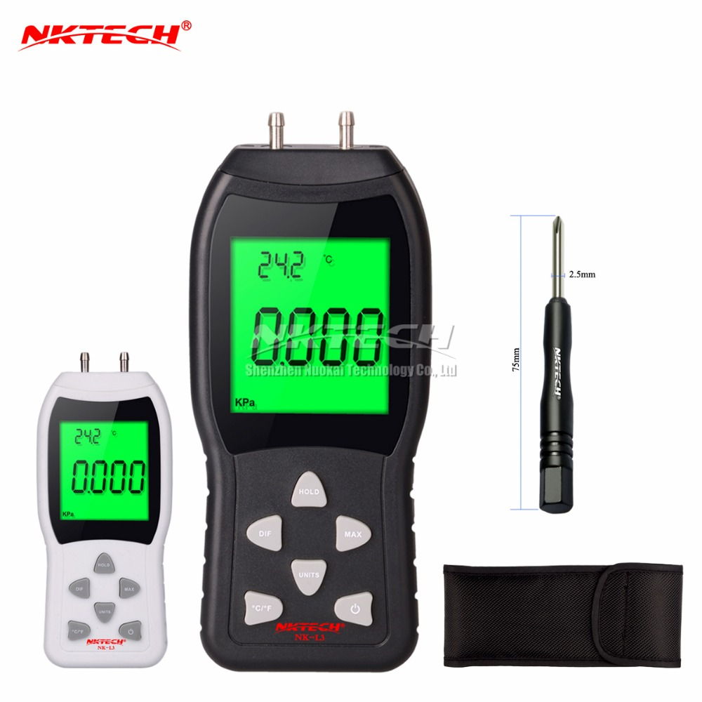 New Professional LCD Digital Manometer Differential NK-L3 Air Pressure Meter Gauge kPa 3Psi Temperature Measuring 12 NKTECH as510 digital mini manometer with manometer digital air pressure differential pressure meter vacuum pressure gauge meter