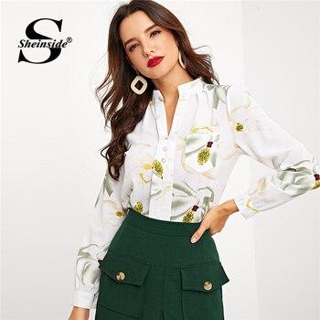 58cadc0087 Sheinside Beige flor impresión blusa de las mujeres de manga larga camisa  elegante mitad Polo camisas de 2019 mujeres Tops y blusas