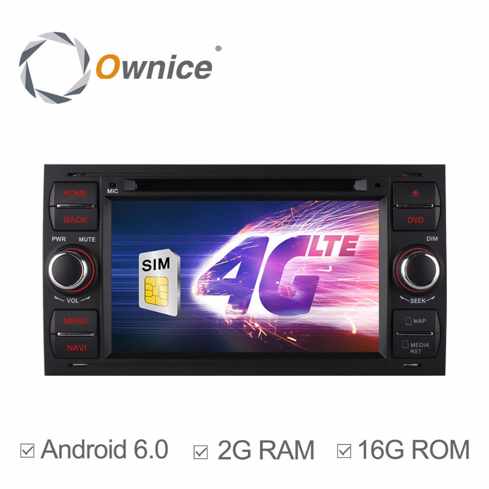 HD 1024X600 Quad Core 2GB RAM 4G LTE Android 6.0 Car DVD Player For Ford Focus 2 Mondeo Kuga Galaxy C-MAX S-MAX Stereo GPS Radio
